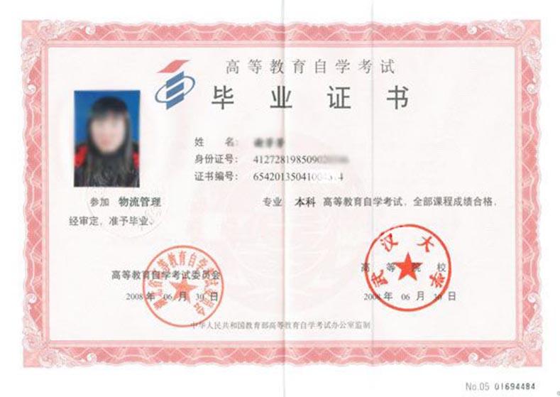 武汉大学毕业证书